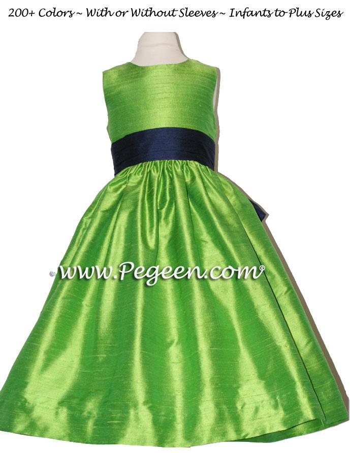 KEY LIME AND NAVY FLOWER GIRL DRESSES