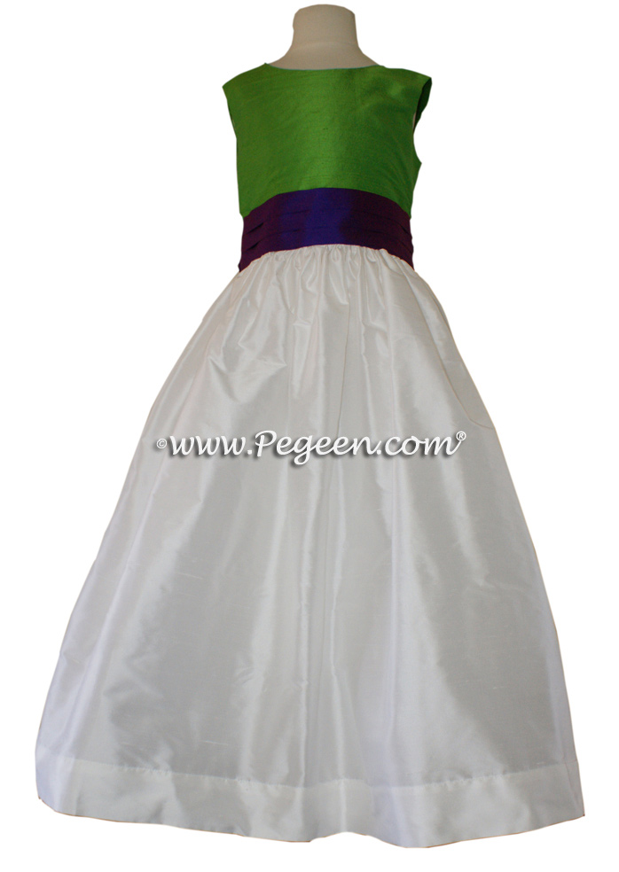 KEY LIME AND ROYAL PURPLE FLOWER GIRL DRESSES