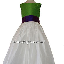 Flower Girl Dresses IN KEY LIME AND ROYAL PURPLE SILK style 398 BY PEGEEN