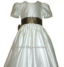 NEW IVORY AND SAHARA Silk Flower Girl Dresses with English Laces