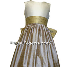 spun gold and latte junior bridesmaid dresses