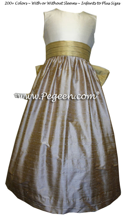 Spun Gold and Latte Silk Junior Bridesmaid Dress Style 398 | Pegeen