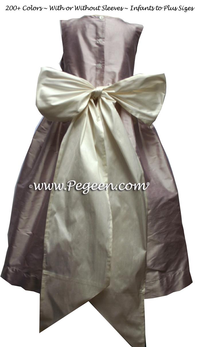 lavender and antique white flower girl dresses