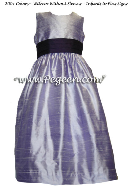 Dark Plum, Lilac, Platinum and Chcolate Brown Silk Flower Girl Dresses