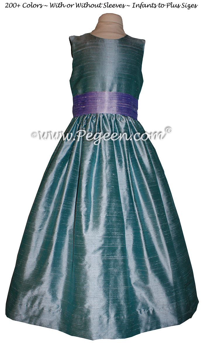 Adriatic aqua and Lilac SILK Flower Girl Dresses