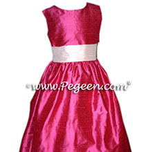lipstick red and ivory flower girl dresses