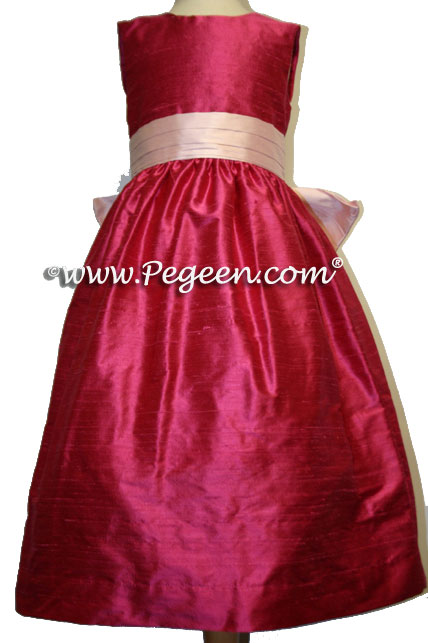 lipstick and peony pink sash flower girl dresses