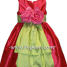 LIPSTICK PINK  AND SPRITE GREEN flower girl dresses
