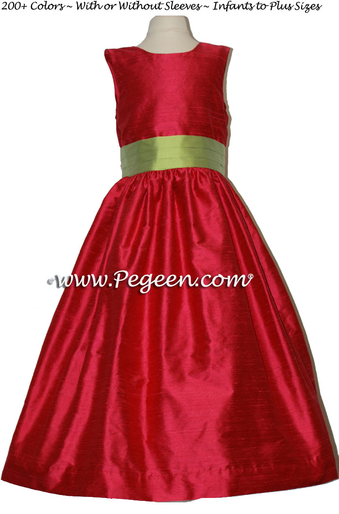 Flower Girl Dresses in LIPSTICK (HOT PINK) and SPRITE GREEN