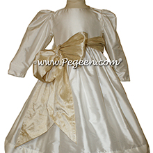 TOFFEE and NEW IVORY Flower Girl Dresses WITH TOFFEE SASH STYLE 398 BY PEGEEN