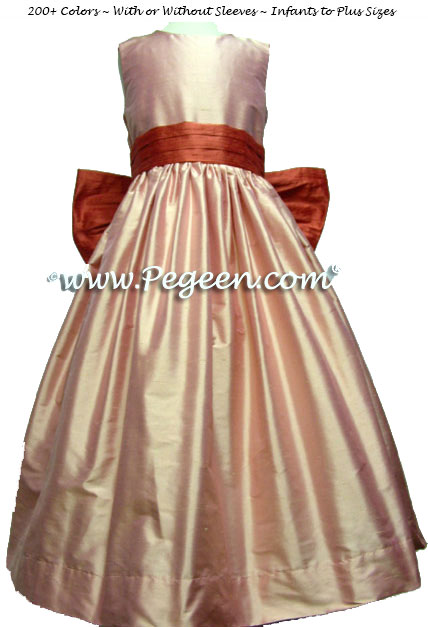 Lotus pink and spice matching Siri Inc. Flower Girl Dresses