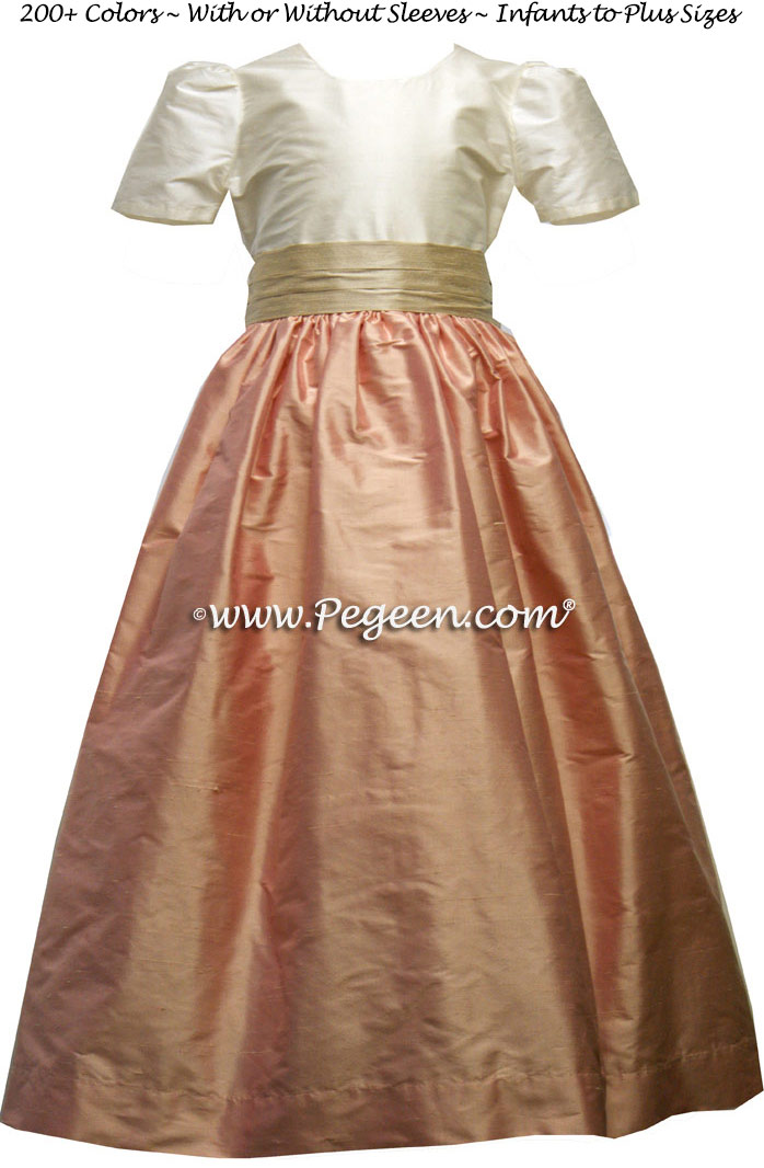 LOTUS PINK AND TOFFEE (IVORY) silk flower girl dresses