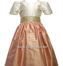 LOTUS PINK AND TOFFEE CREME Flower Girl DRESS Style 398