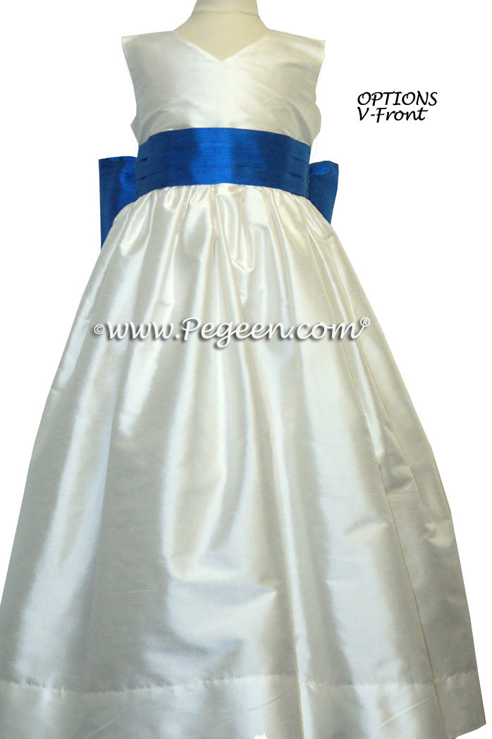 BISQUE AND SEMI-SWEET BROWN silk flower girl dresses