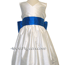 NEW IVORY AND MALIBU SILK CUSTOM Flower Girl Dresses