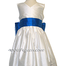 Antique White AND MALIBU BLUE FLOWER GIRL DRESS Style 398