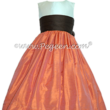 Chocolate and mango orange Silk Flower Girl Dresses by PEGEEN