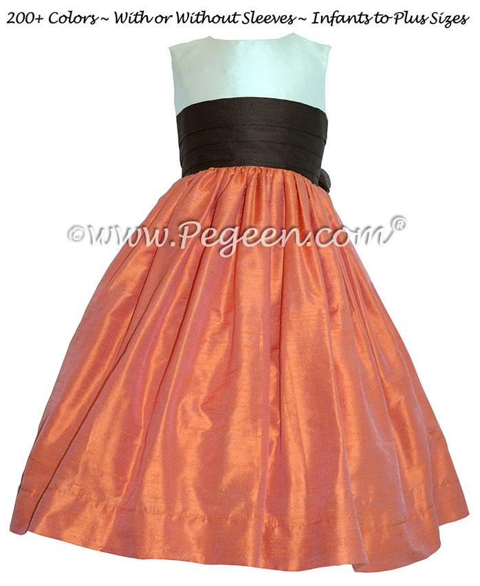 Silk Flower Girl Dress in Chocolate, Mango. Ivory Style 398   Pegeen