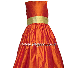 Mango Orange and Dandilion Yellow Custom Silk Flower Girl Dresses by Pegeen in Style 398
