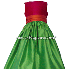 Key lime, mango and raspberry silk flower girl dress style 398 by PEGEEN