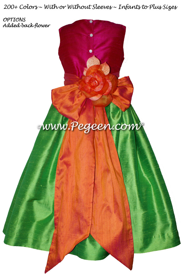Key lime, mango and raspberry silk flower girl dresses
