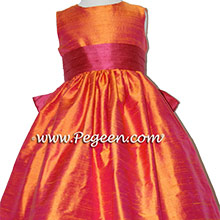 Flower Girl DRESS IN LIPSTICK PINK AND MANGO