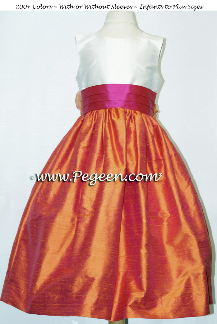 mango and sorbet sash flower girl dresses