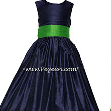 Navy and Green Silk Flower Girl Dress on Sale