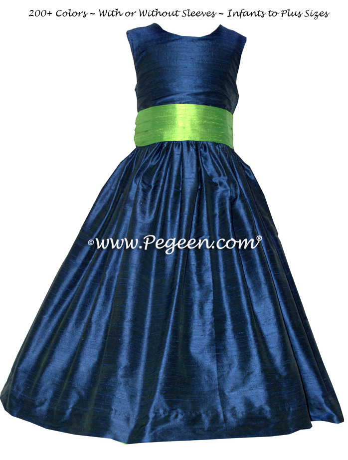 Flower Girl Dresses in Marine Blue (Navy) and Apple Green   Pegeen
