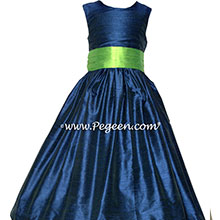 MARINE BLUE (NAVY) AND KEYLIME GREEN Flower Girl Dresses