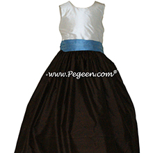 Semi Sweet Brown and Medium Blue custom silk flower girl dress Style 398 by Pegeen