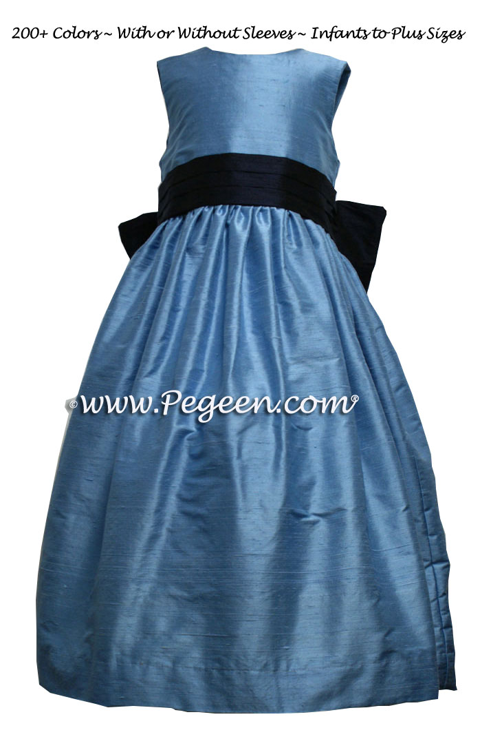 Flower Girl Dresses In Medium Blue, Navy Style 398 | Pegeen