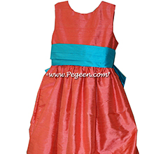 Melon and Bahama Breeze flower girl dresses
