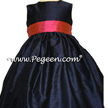 navy and sorbet sash flower girl dresses