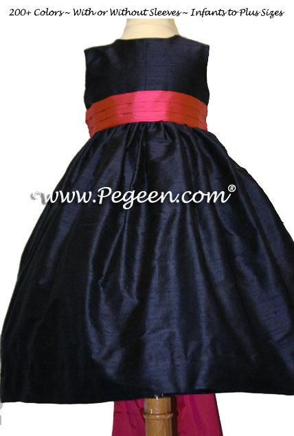 midnight navy and sorbet sash flower girl dresses