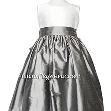medium gray IVORY CUSTOM Flower Girl Dresses