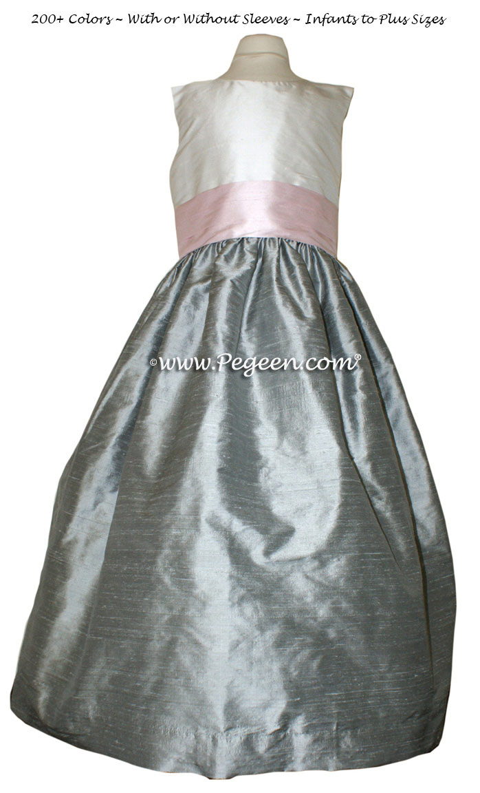 Morning Gray and Petal Pink flower girl dresses