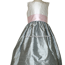 Morning Gray and Petal Pink Silk flower girl dresses Style 398 by Pegeen