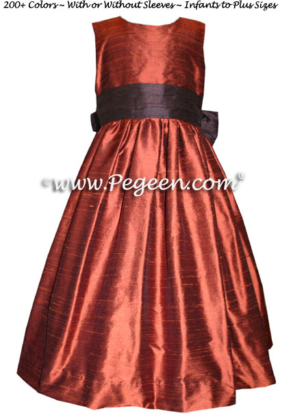 COPPER AND chocolate brown FLOWER GIRL DRESSES