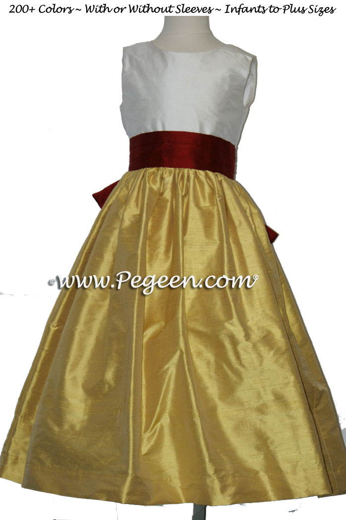 MUSTARD AND CRANBERRY SILK FLOWER GIRL DRESSES