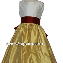 Mustard gold and cranberry red flower girl dresses