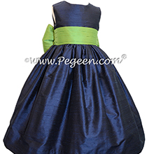 Navy Blue and Apple Green Silk flower girl dresses Style 398 by Pegeen Classics