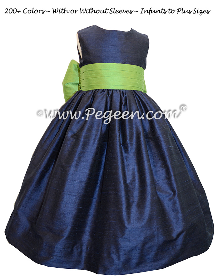 Navy Blue and Apple Green flower girl dresses