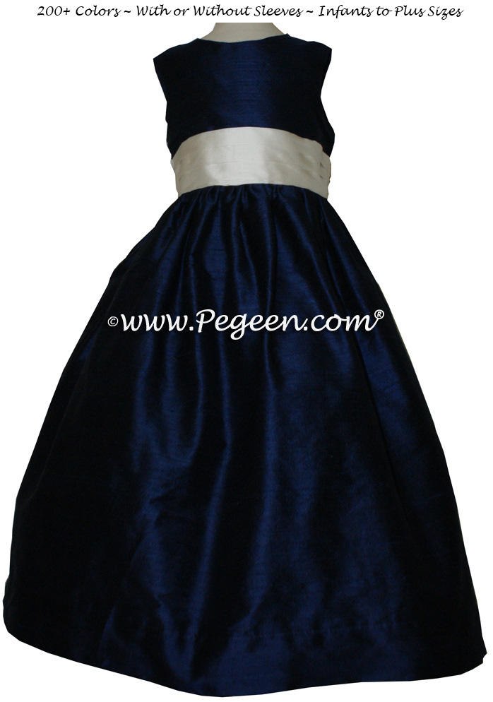 NAVY AND BISQUE FLOWER GIRL DRESS Style 398 by Pegeen