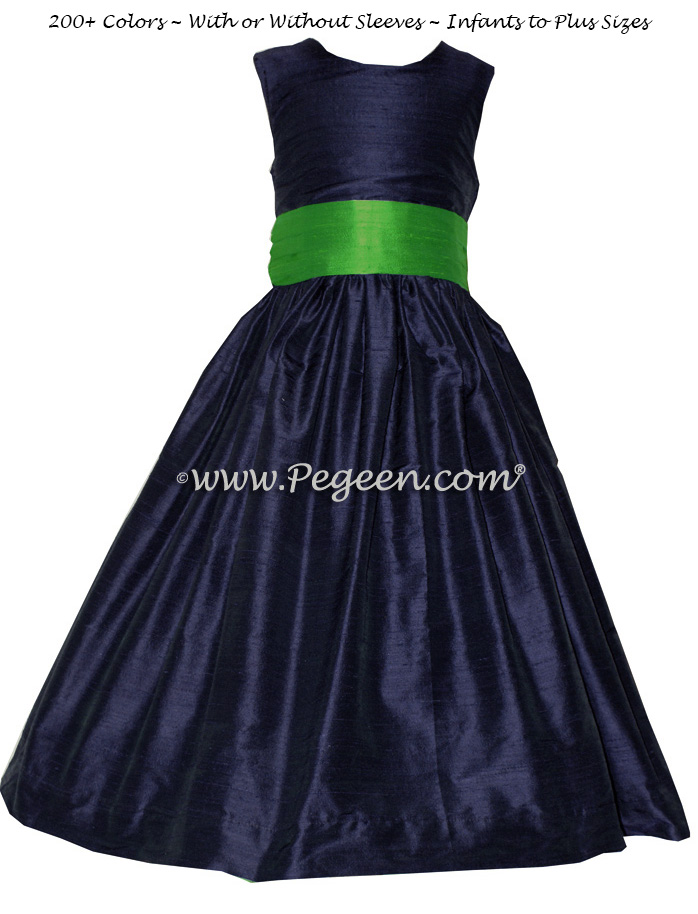 NAVY AND SHAMROCK FLOWER GIRL DRESS Style 398 by Pegeen