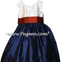 NAVY AND BURNT ORANGE FLOWER GIRL DRESSES