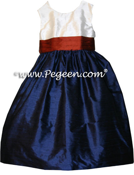 Navy and Mountain Fall flower girl dresses in silk style 398