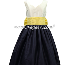 Antique White Navy and Lemonade Yellow Silk Flower Girl Dresses by Pegeen style 398
