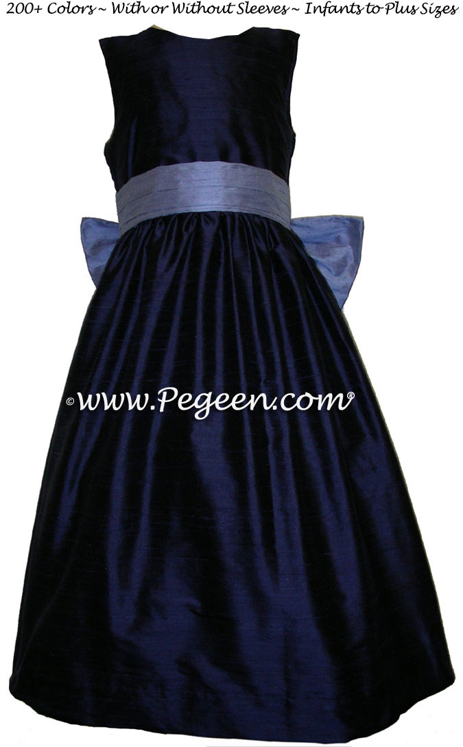 FLOWER GIRL DRESSES in navy and ocean blue sash flower girl dresses