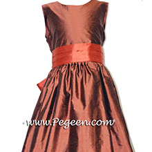 Oak and Sunset Orange Silk Custom Flower Girl Dress Style 398